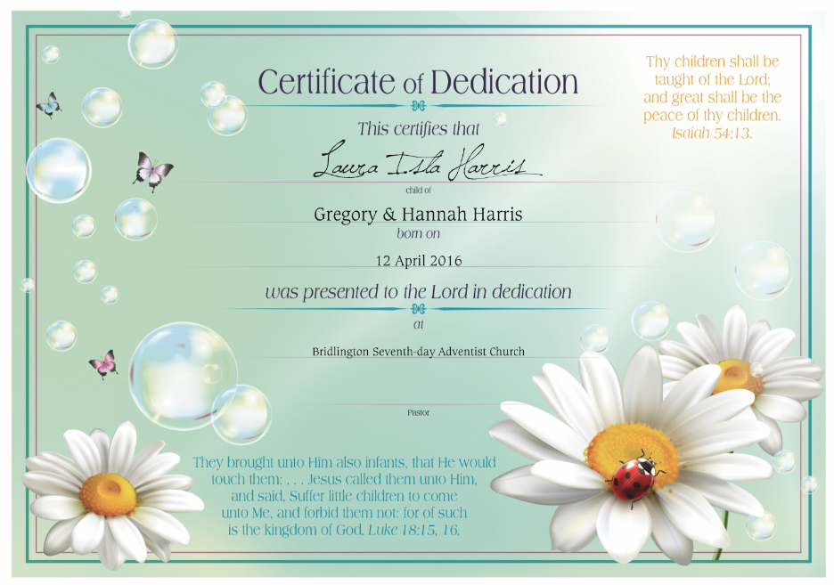 Dedication Certificates  Stanborough Press